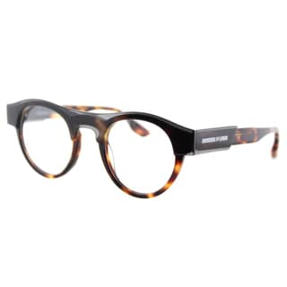 McQ MQ 0005O 002 Transparent Grey Havana Plastic Round 45mm Eyeglasses