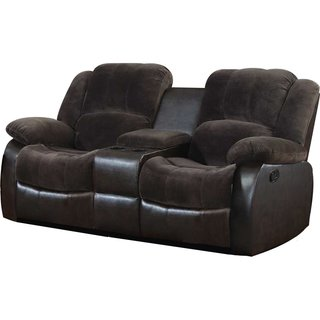 Polyurethane Loveseat with 2 Reclining Seats and Console in Brown