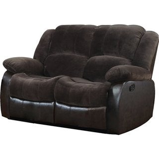 Velvet Loveseat with 2 Reclining Seats in Brown