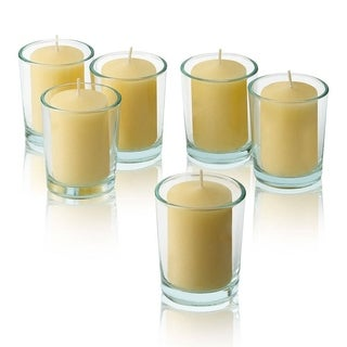 Ivory Unscented votive candles with Clear Glass Round Votive Candle Holders (Set of 72)