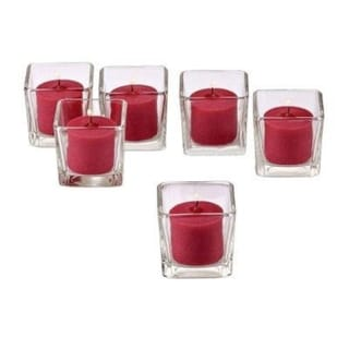 Clear Glass Square Votive Candle Holders with Red Votive Candles with 10-hour Burn (Set Of 72)