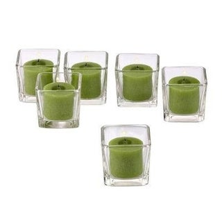 Clear Glass Square Votive Candle Holders with Lime Green Votive Candles with 10-hour Burn (Set Of 72) (Option: Green)