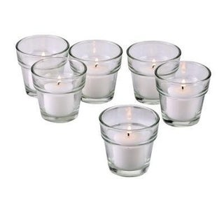 Clear Glass Flower Pot Votive Candle Holders with White Votive Candles with 10-hour Burn (Set Of 72)