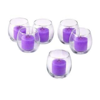 Clear Glass Hurricane Votive Candle Holders with Lavender Votive Candles with 10-hour Burn (Set of 72)