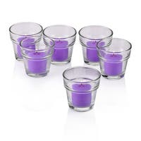 Clear Glass Flower Pot Votive Candle Holders with Lavender Votive Candles with 10-hour Burn (Set Of 72)