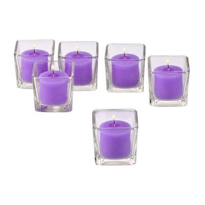 Clear Glass Square Votive Candle Holders with Lavender Votive Candles with 10-hour Burn (Set Of 72)