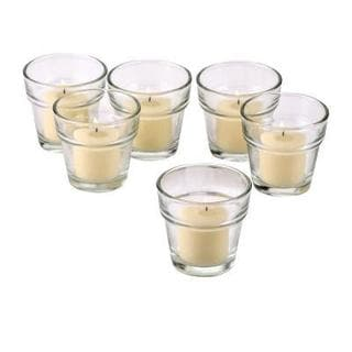 Clear Glass Flower Pot Votive Candle Holders with Ivory Votive Candles with 10-hour Burn (Set Of 72)