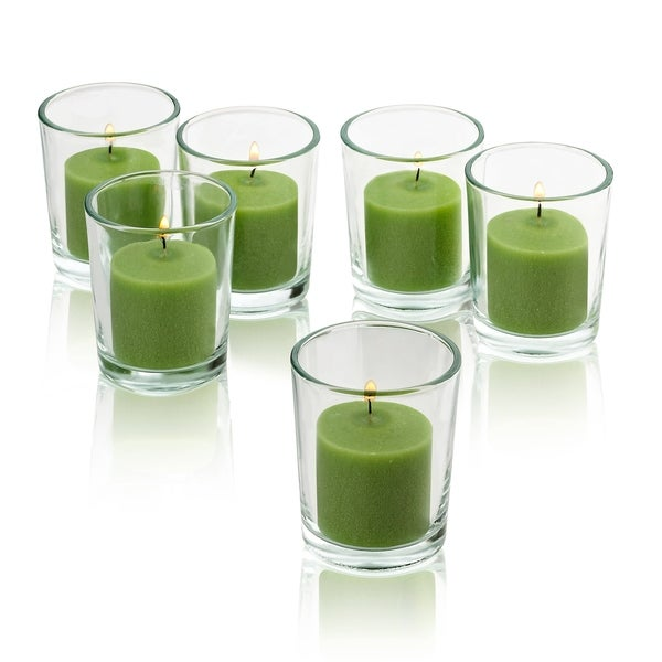Clear Glass Round Votive Candle Holders with Lime Green Votive Candles Burn 10 Hours (Set of 72)