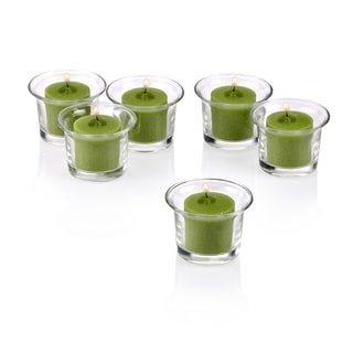 Clear Glass Lip Votive Candle Holders with Lime Green Votive Candles (Set of 72)
