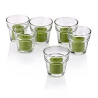 Clear Glass Flower Pot Votive Candle Holders with Lime Green Votive Candles (Set of 72)