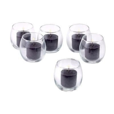 Clear Glass Hurricane Votive Candle Holders with Black Votive Candles with 10-hour Burn (Set of 72)