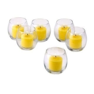 Clear Glass Hurricane Votive Candle Holders with Yellow Votive Candles with 10-hour Burn (Set of 36)