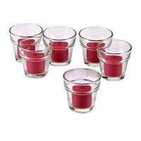 Clear Glass Flower Pot Votive Candle Holders with Red Votive Candles with 10-hour Burn (Set Of 36)