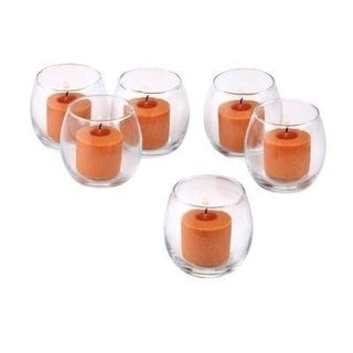 Clear Glass Hurricane Votive Candle Holders with Orange Votive Candles with 10-hour Burn (Set of 36)