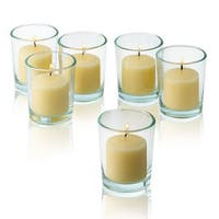 Clear Glass Round Votive Candle Holders with Ivory Votive Candles Burn 10 Hours (Set of 36)