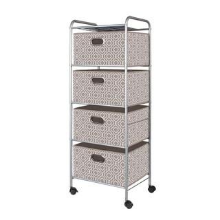 Tan 4-Drawer Fabric Cart
