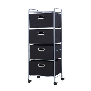 Black Onyx 4-Drawer Fabric Cart