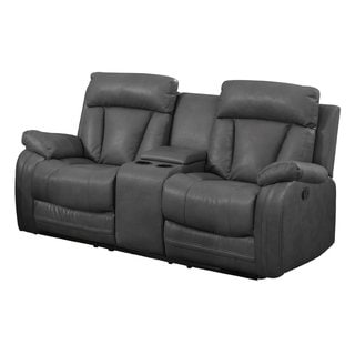 Bonded Leather Loveseat with 2 Reclining Seats and Console in Grey
