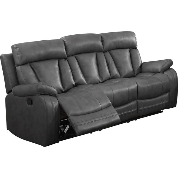Shop Bonded Leather Sofa With 2 Reclining Seats In Grey
