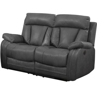 Bonded Leather Loveseat with 2 Reclining Seats in Gray