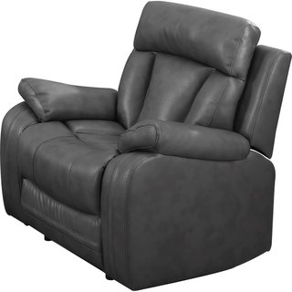 Bonded Leather Recliner in Grey