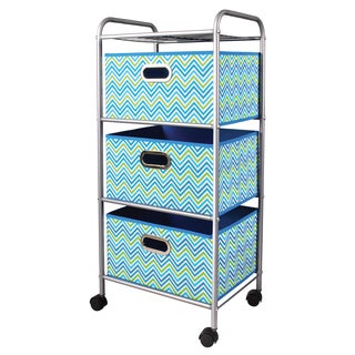 Mini Cyan Blue/Green 3-Drawer Trolley Cart