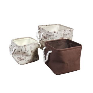Chestnut Cotton/ Linen Blend 3-Piece Inspirational Canvas Bins