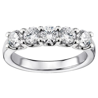 Platinum 1ct TDW Diamond 5-stone Wedding Band (G-H, SI1-SI2)