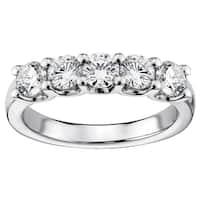 Platinum 1ct TDW Diamond 5-stone Wedding Band