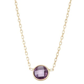 Gioelli 10k Gold Solitaire Amethyst Pendant