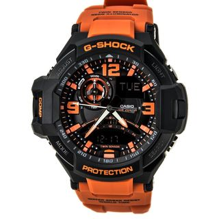 Casio Unisex GA-1000-4ACR 'Gravitymaster G-Aviation Twin Sensor' Analog-Digital Orange Resin Watch