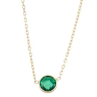 Gioelli 10k Gold Solitaire Created Emerald Pendant