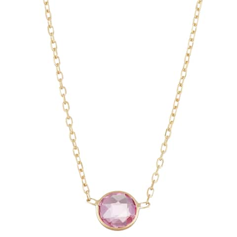Gioelli 10k Gold Solitaire Created Pink Sapphire Pendant