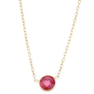 Gioelli 10k Gold Solitaire Created Ruby Pendant
