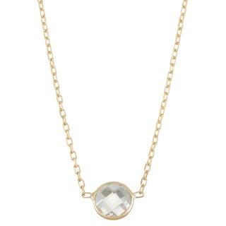 Gioelli 10k Gold Solitaire Created White Sapphire Pendant