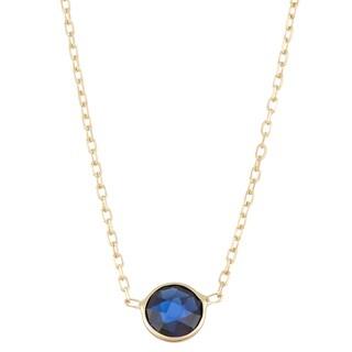 Gioelli 10k Gold Solitaire Created Sapphire Pendant