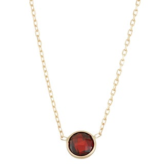 Gioelli 10k Gold Solitaire Created Garnet Pendant
