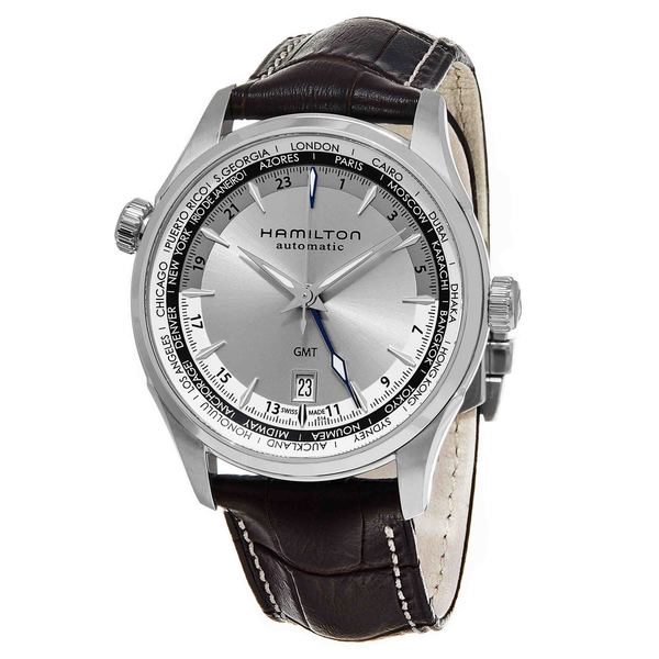 Hamilton Men's H32605551 'Jazzmaster' Silver Dial Brown Leather Strap GMT Auto Swiss Automatic Watch. Opens flyout.