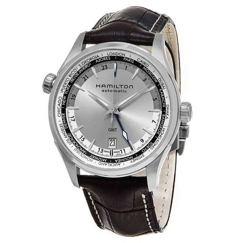 Hamilton Men's H32605551 'Jazzmaster' Silver Dial Brown Leather Strap GMT Auto Swiss Automatic Watch