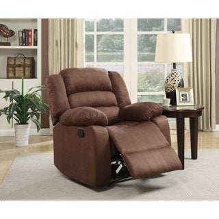 Microfiber Recliner in Medium Brown