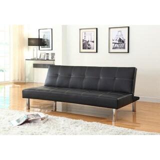 Polyurethane Tufted Futon Sofa in Black