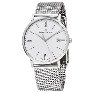 Maurice Lacroix Men's EL1087-SS002-111 'Eliros' White Dial Stainless Steel Swiss Quartz Watch