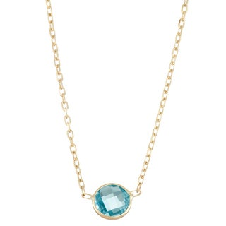Gioelli 10k Gold Solitaire Swiss Blue Topaz Pendant