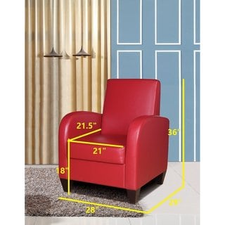 Polyurethane Accent Chair with Solid Wood Legs and Frames in Red