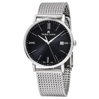 Maurice Lacroix Men's EL1087-SS002-312 'Eliros' Black Dial Stainless Steel Swiss Quartz Watch