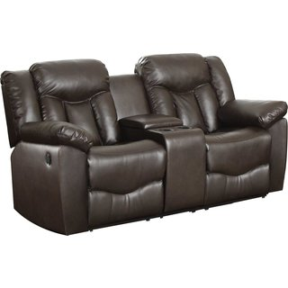 Bonded Leather Loveseat with 2 Reclining Seats and Middle Console in Brown