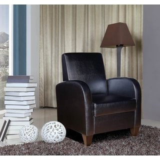 Polyurethane Accent Chair in Black with Brown Legs and Frame