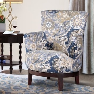 Swivel Accent Chair with Paisley Pattern