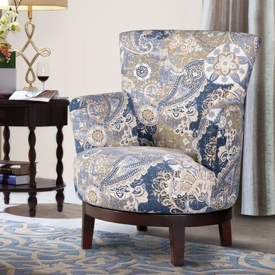 Shop Swivel Accent Chair With Paisley Pattern On Sale