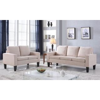 Microfiber Three Cushion Sofa in Beige